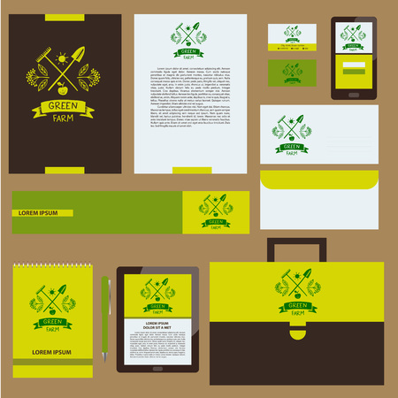 menu land: Green farm. Corporate identity for agriculture, horticulture. Branch with berries, garden tools, shovel and rake. Gardening, growing vegetables and fruit. Vector and illustration for country village business.