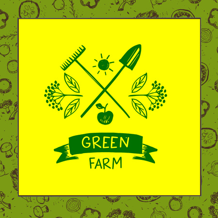 agrarian: Green farm. Sketch for agriculture, horticulture. Branch with berries, garden tools, shovel and rake. Gardening, growing vegetables and fruit Vector illustration for country village business. Illustration