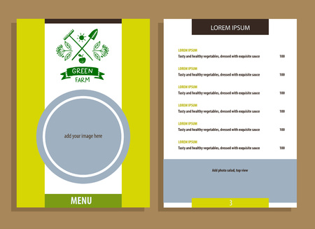 menu land: Green farm. Menu for agriculture, horticulture. Branch with berries, garden tools, shovel and rake. Gardening, growing vegetables and fruit. Vector and  illustration for country village business.
