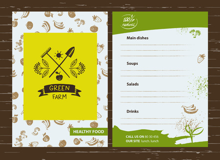 menu land: Green farm. Menu for agriculture, horticulture. Branch with berries, garden tools, shovel and rake. Gardening, growing vegetables and fruit. Vector sketch and color illustration for country village business. Illustration