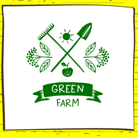 menu land: Green farm. Sketch for agriculture, horticulture. Branch with berries, garden tools, shovel and rake. Gardening, growing vegetables and fruit. Vector illustration for country village business.