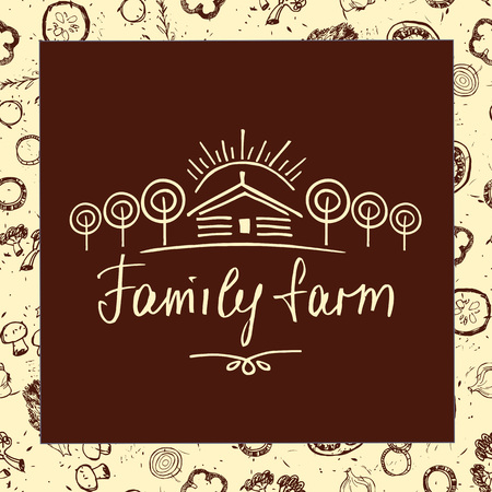 agrarian: Family farm. Sketch for agriculture, horticulture. Hand drawn tree, home and sun. Gardening, growing vegetables and fruit. Vector illustration for country village business.