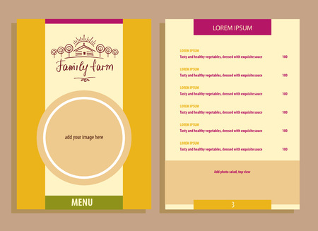 family gardening: Family eco farm. Menu for agriculture, horticulture. Hand drawn tree, home and sun. Gardening, growing vegetables and fruit. Vector and  illustration for country village business.
