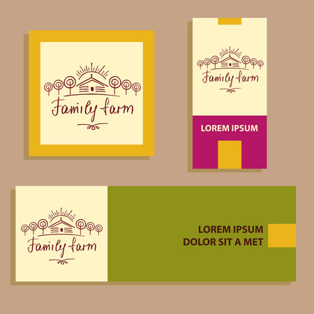 agrarian: Family eco farm. Sketch for agriculture, horticulture.Hand drawn tree, home and sun. Gardening, growing vegetables and fruit. Vector illustration for country village business. Illustration