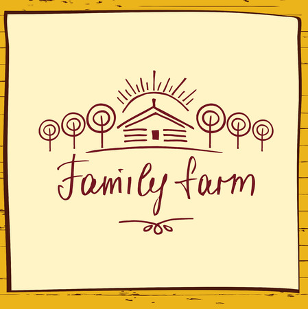 Family eco farm. Sketch for agriculture, horticulture. Hand drawn tree, home and sun. Gardening, growing vegetables and fruit. Vector illustration for country village business.