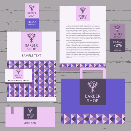 hairdressing salon: Vector heraldic for a hairdressing salon. Business card, background and banner. Template for corporate style barbershop. Status and elegance.