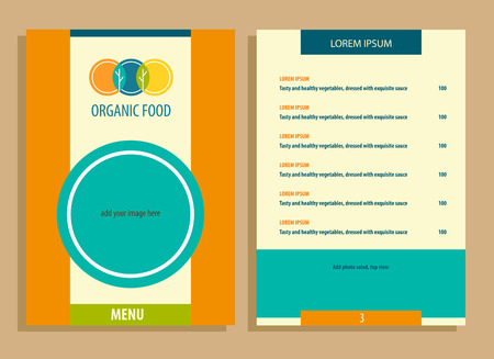 horticulture: Vector template for agriculture, horticulture. Image of three circles that resemble plates, intersection trees and leaves. Menu for vegetarian organic food business. Illustration