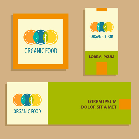 horticulture: Vector template for agriculture, horticulture. Image of three circles that resemble plates, intersection trees and leaves. Card and banner for vegetarian organic food business.
