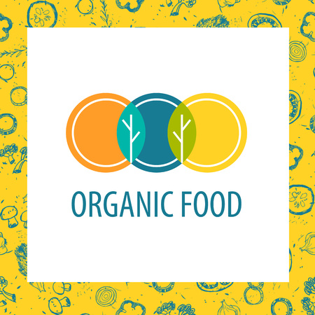 horticulture: Vector template for agriculture, horticulture. Image of three circles that resemble plates, intersection trees and leaves. Illustration for vegetarian organic food business.