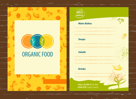 Vector template for agriculture, horticulture. Image of three circles that resemble plates, intersection trees and leaves. Menu for vegetarian organic food business. Stock Illustratie