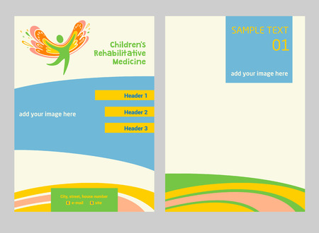 rehabilitation: Children rehabilitation medicine. Flyer and vector logo depicting the silhouette of a healthy, happy child.