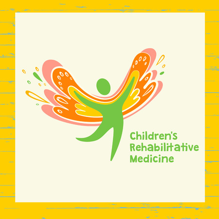 pediatrics: Children rehabilitation medicine. Vector depicting the silhouette of a healthy, happy child. Illustration