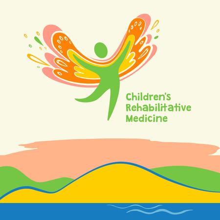 rehabilitation: Children rehabilitation medicine. Vector depicting the silhouette of a healthy, happy child. Illustration
