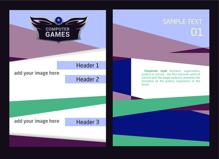 computer games: Editable template  and corporate identity with heraldic style . Flyer and  for computer games. Illustration