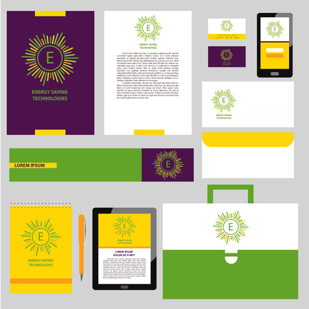 improving: Vector  with letter E. Corporate identity with concept symbols of natural eco resources and energy. Saving energy resources. Improving energy efficiency.