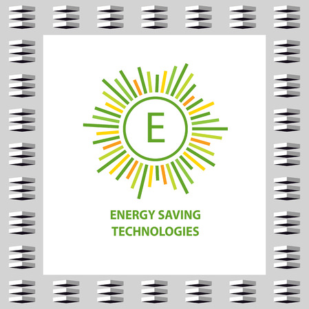 improving: Vector  with letter E.  with concept symbols of natural eco resources and energy. Saving energy resources. Improving energy efficiency.