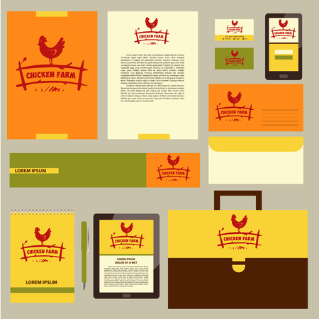 fowls: Vector logo. Hand drawn hen. Corporate identity for home business with products from chicken meat and eggs.  Poultry Farm.