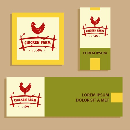 home products: Vector . Hand drawn hen. Internet banner for home business with products from chicken meat and eggs.  Poultry Farm.