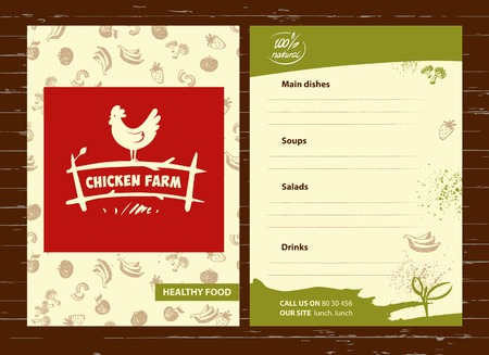 poultry farm: Vector . Hand drawn hen. Menu for home business with products from chicken meat and eggs.  Poultry Farm.