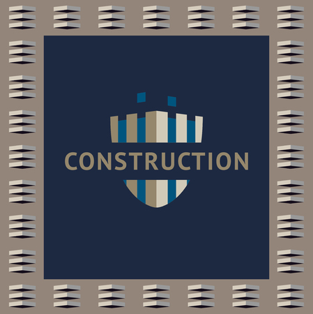 unfinished: and identification of a construction company. Unfinished building, shield. Illustration