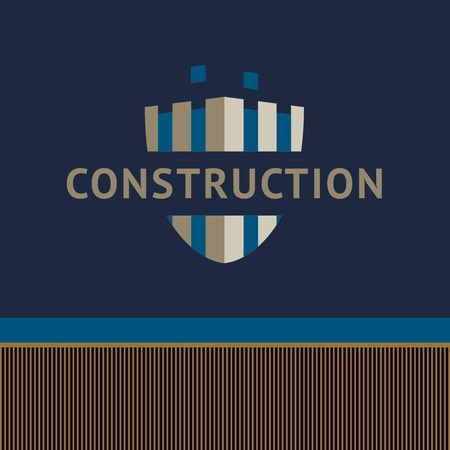 unfinished: identification of a construction company. Unfinished building, shield. Illustration