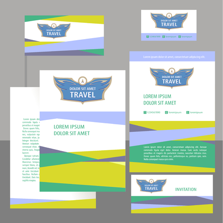 professionalism: Logo and template corporate identity, banner for travel agency, air carrier. Demontstration of reliability, professionalism. Status, elegentny style.
