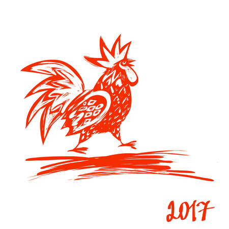 2017 Chinese New Year of the Rooster. Vector Illustration. Hand drawn illustration red rooster on white background. Template for Greeting , Congratulations and Invitations.