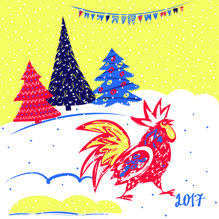 year greetings: 2017 Chinese New Year of the Rooster. Vector Illustration with xmas tree. Hand drawn illustration red rooster on white background. Template for Greeting , Congratulations and Invitations. Illustration
