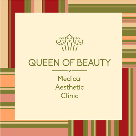 beauty queen: Template element of corporate identity, banner, background with vector  for aesthetic medicine clinic. Facials and body treatments. Prestigious, status, royal. Queen of beauty.