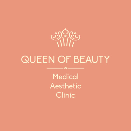 beauty queen: Template element of corporate identity, banner, background with vector logo for aesthetic medicine clinic. Facials and body treatments. Prestigious, status, royal. Queen of beauty.