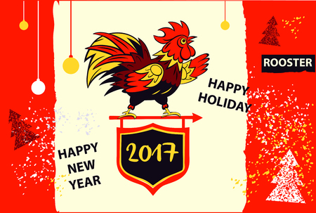 xmas card: Vector element of design greeting card, poster, clothing, postcard, calendar and invitation for party event happy new year rooster 2017. Illustration