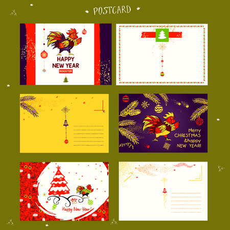greeting people: Vector element of design greeting card, poster, clothing, postcard, calendar and invitation for party event happy new year rooster 2017. Illustration