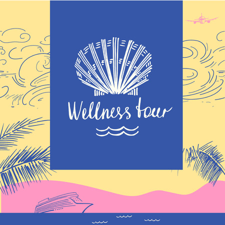 illustration for advertising: Vector icon travel company. Tourist trip and wellness tour. Design icon of cruise adventure on color background. Hand drawn silhouettes icon. Illustration for advertising tourism company, tour operator. Illustration