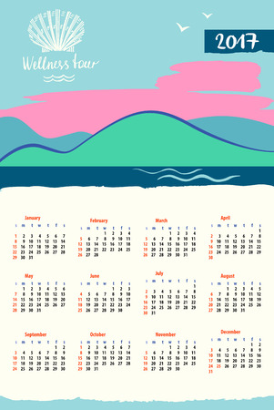 illustration for advertising: Calendar 2017 with vector icon travel company. Tourist trip and wellness tour. The journey in the sky, landscape.  Illustration for advertising tourism company, tour operator.