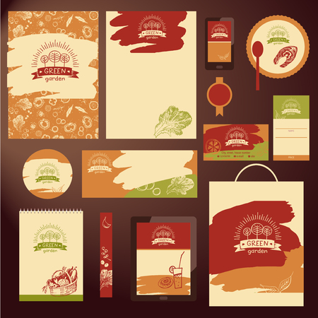 farm hand: Element of design corporate identity, banner, poster, card, menu for family green farm. Hand drawn element for eco food on color background. Ecology natural product and organic food. Freehand vector sketch icon. Illustration