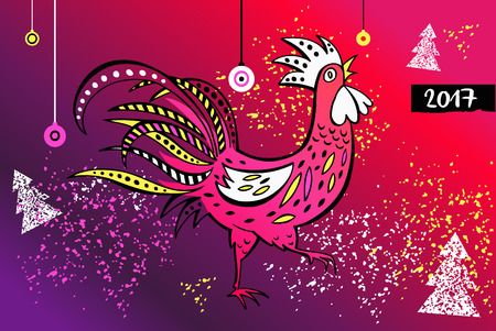 event party: Vector element of design greeting card, poster, clothing, postcard, calendar and invitation for party event happy new year rooster 2017. Illustration
