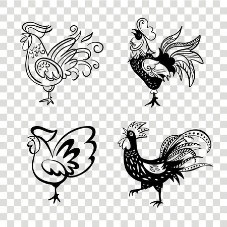 Roosters in different poses. Vector silhouettes roosters. Hand drawn cocks. Illustration