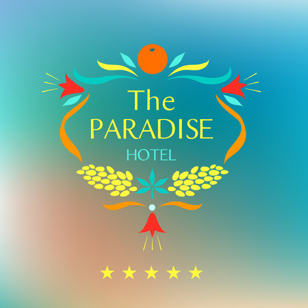 Template corporate identity with vector icon for resort and spa paradise hotel. Oval frame of fruits and flowers.