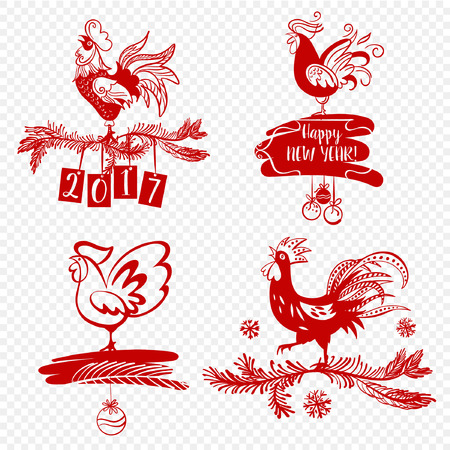 new year party: Illustration for happy new year 2017 red rooster. Silhouette cock. Vector element of design  card, poster, clothing, postcard, calendar and invitation with rooster 2017.