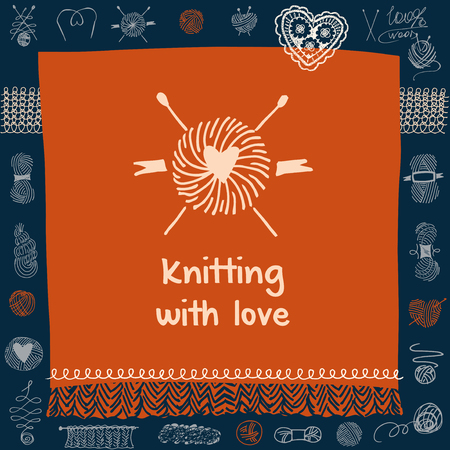 Crafts market. Knitting with love.  Element of corporate identity, banner, card for handmade home business with vector icon ball of yarn in the form of heart and knitting needles. Knit and Crochet.