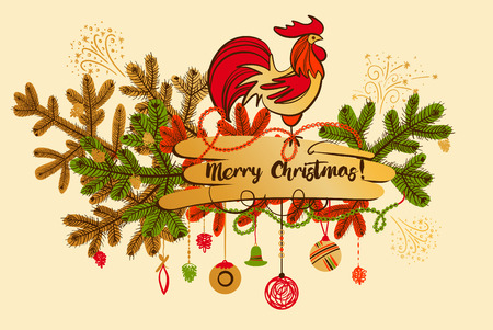 Illustration for happy new year with silhouette and christmas decoration. Christmas vector greeting card with rooster - symbol of year 2017 on color background.