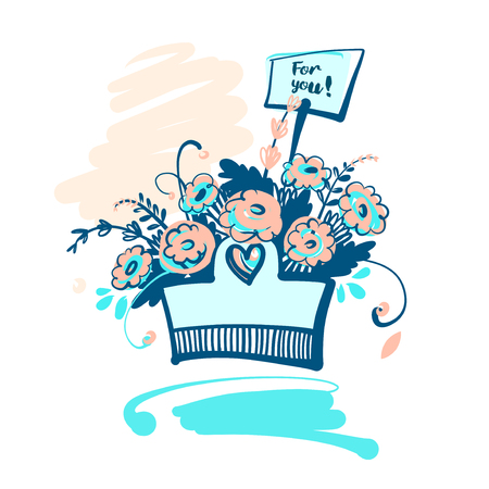 bunch of hearts: Hand drawn typography poster. Stylish illustration basket with f