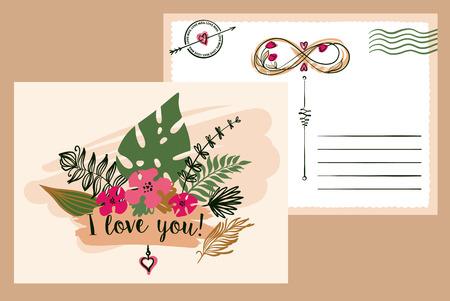Carte postale de typographie dessiné à main levée sur fond de couleur. Illustration élégante avec dessin de fleur de vecteur pour cartes de voeux, flyer, bannière, affiche, enregistrer la carte de date. Texte je t'aime.