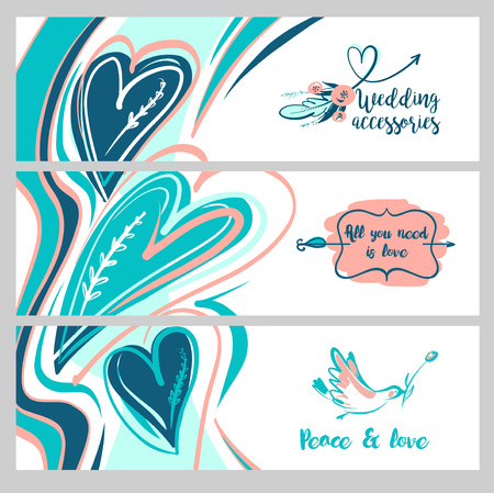 love image: Freehand drawn web banner. Stylish illustration with vector flower design for greeting cards, valentines day, save date card. All you need is love. Image with bird and text peace. Wedding accessory