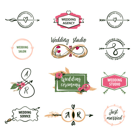 Set vector logo isolated on white background for greeting card, poster wedding agency, salon, reception. Image with floral, text wedding ceremony for happy valentine day, save date wedding invitation. Stock Vector - 71840947