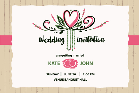 Wedding invitation for getting married vector illustration template vector wedding invitation for getting married vector illustration template with flower background stopboris Image collections