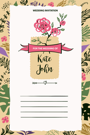 getting married: Wedding invitation for getting married. Vector illustration template with flower background. Illustration