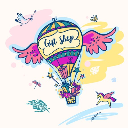 Gift shop template illustration with balloon and unicorn.