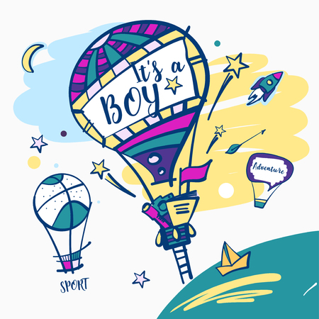 It is a boy. Balloon with text sport and adventure.