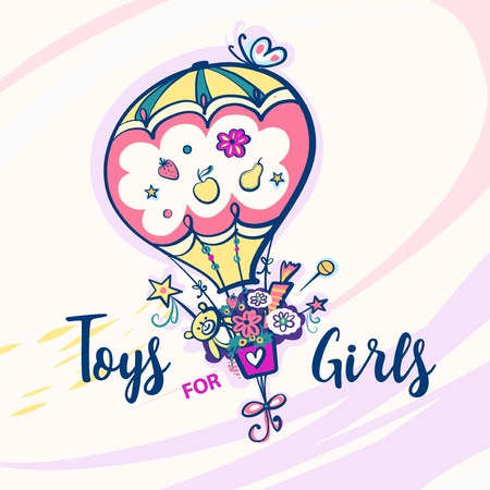 Toys for girls. Color balloon with butterfly.